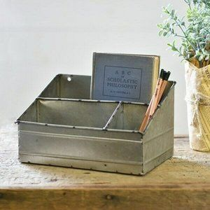Tin Rustic Organizer - 3 sections - tabletop or ca